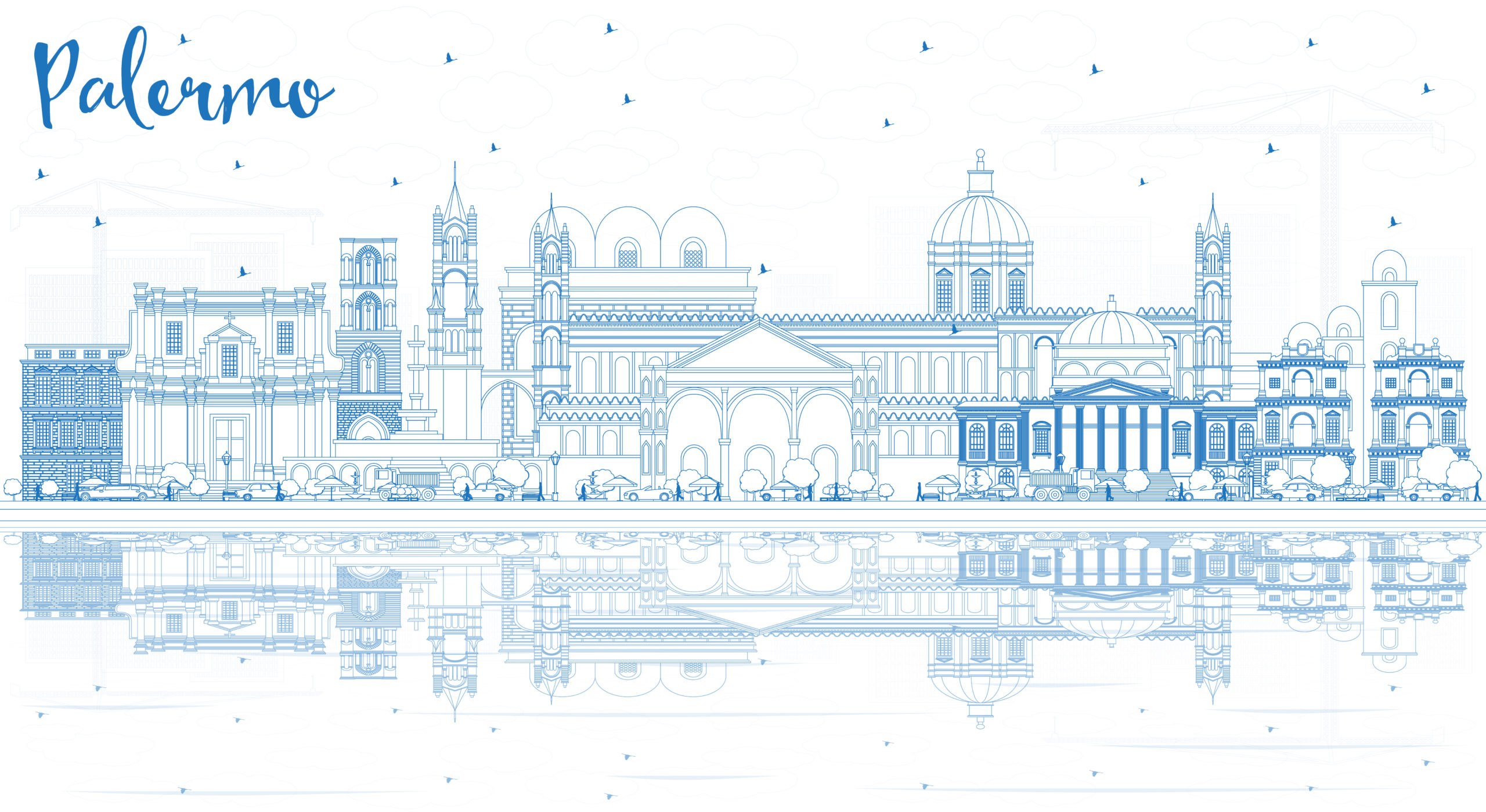 Outline Palermo Italy City Skyline with Blue Buildings and Reflections. Vector Illustration. Business Travel and Tourism Concept with Historic Architecture. Palermo Sicily Cityscape with Landmarks.