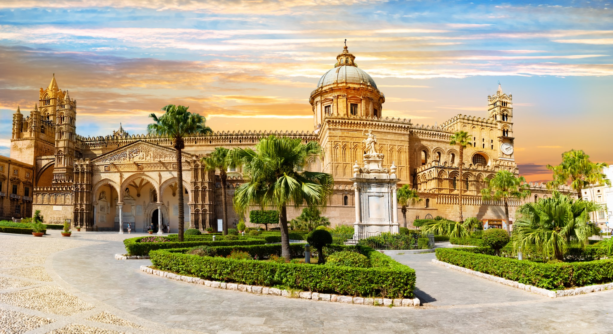 Panoramic view of cathedral church of the Roman Catholic Archdiocese of Palermo in Sicily - Italy.