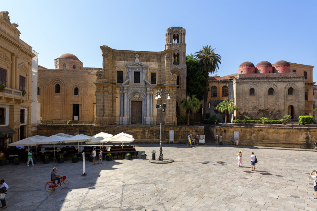 PALERMO, SICILY, ITALY - JULY 10, 2019: Neoclassical Teatro Massimo Vittorio Emanuele in Palermo is Italy's largest and one of larges Europe Opera house.