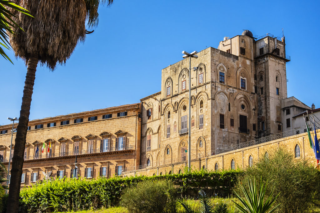 One of oldest royal palaces in Europe - Palermo Palace of Normans (Palazzo dei Normanni). Norman Palace or Royal Palace was created in IX century. Palermo, Sicily, Italy.