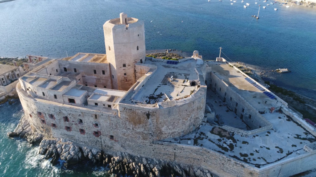 Aerial bird view photo near old coastal fortress Castello della Colombaia located in Trapani Sicily Italy this medieval fort is also known as Torre Peliade and was used as military protection