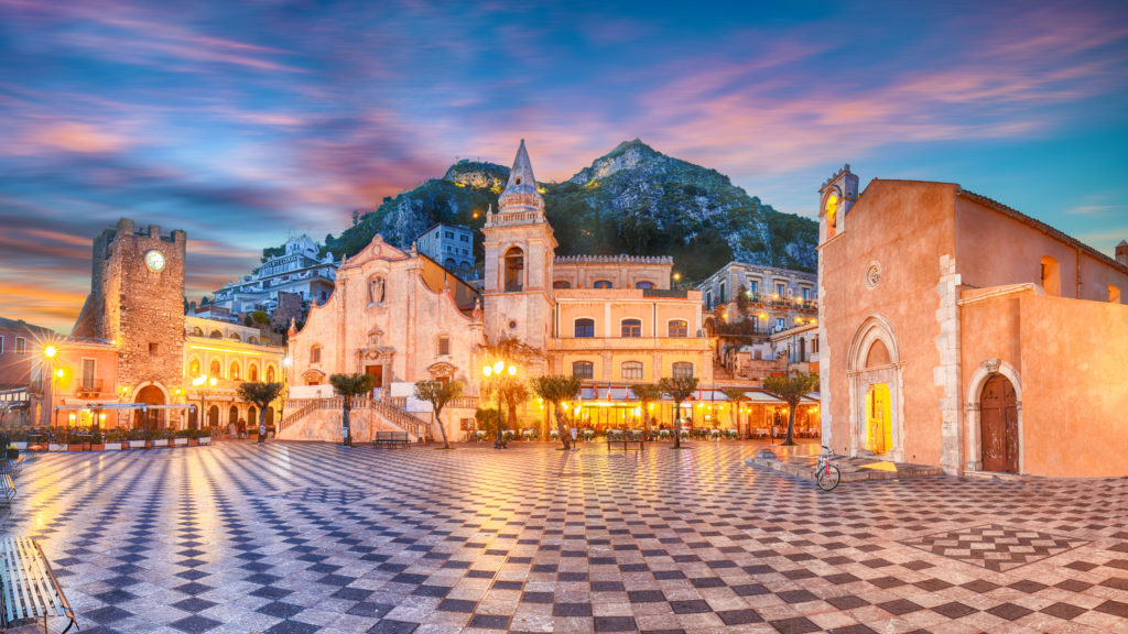 Belvedere of Taormina and San Giuseppe church on the square Piazza IX Aprile in Taormina. Sicily, Italy