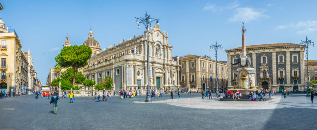 CATANIA, ITALY, APRIL 28, 2017: View of piazza duomo dominated by the cathedral of saint agatha and an elephant fountain in Catania, Sicily, Italy