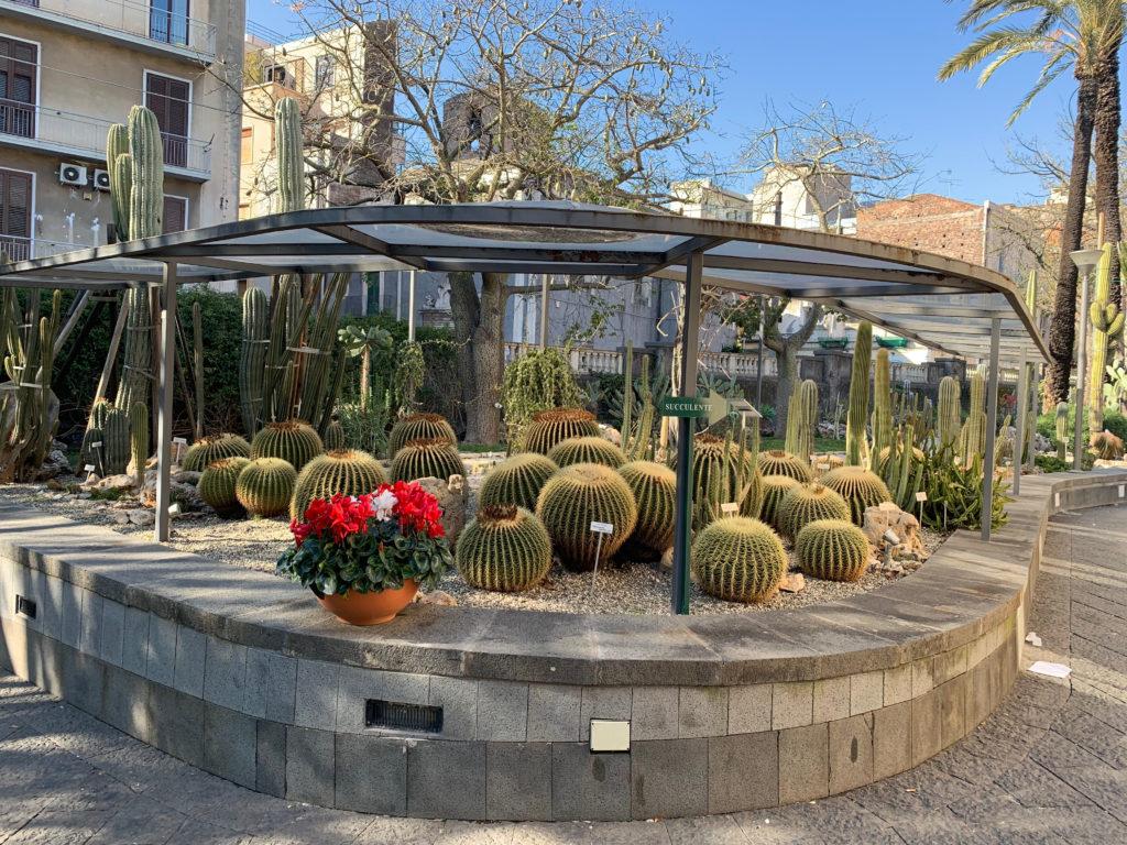 Catania /Sicily / Italy - February 18th 2019: Beautiful Botanic Garden in the center of Catania.
