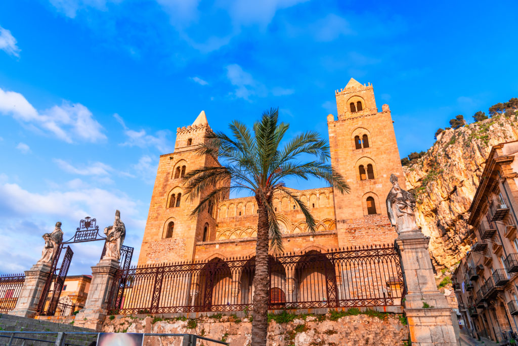 Cefalu, Sicily, Italy: Town square with The Cathedral or Basilica of Cefalu, Duomo di Cefalu, a Roman Catholic church built in the Norman style