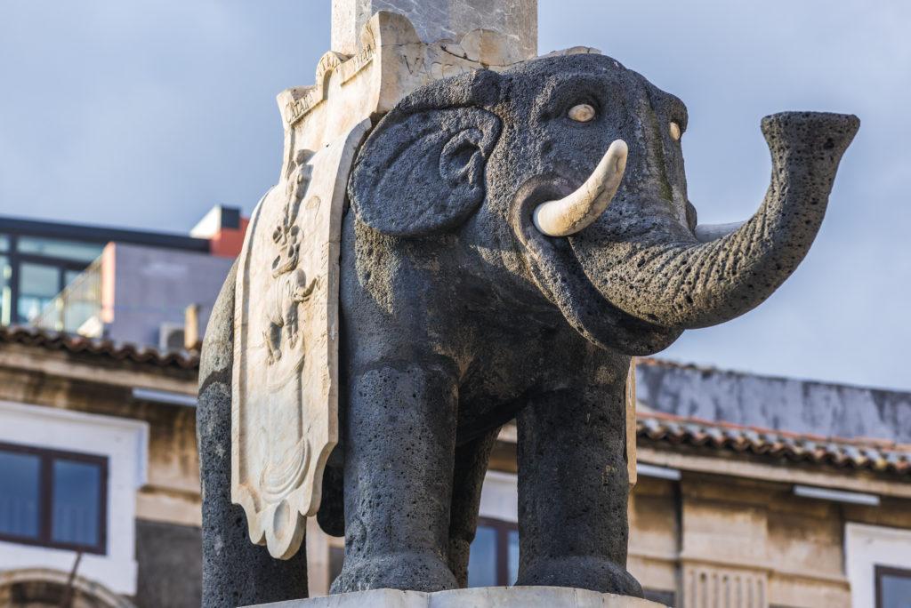 Famous symbol of Catania - Elephant Fountain, island of Sicily, Italy
