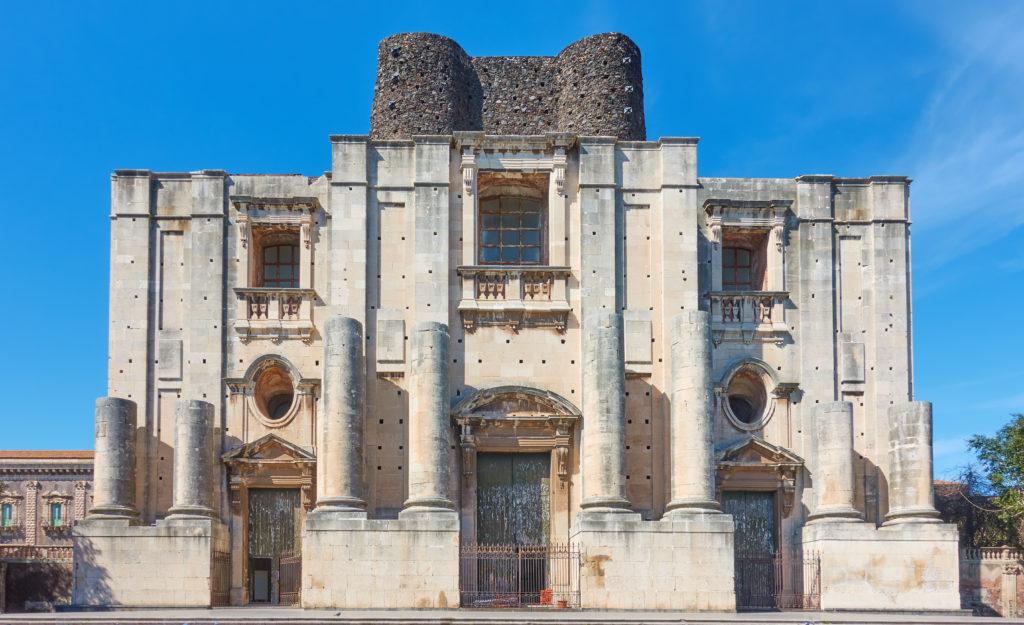Front of The Church of San Nicolo (Chiesa di San Nicolo l`Arena), Catania, Sicily, Italy