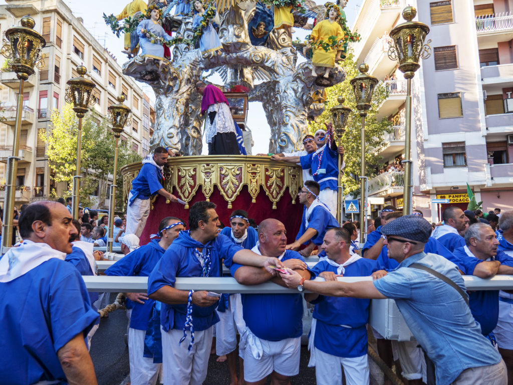 MESSINA, ITALY - AUGUST 15: The Vara is a big wagon votive dedicated to the Virgin Mary and had to be carried in procession on August 15 of each year, on August 15, 2016 in Messina.
