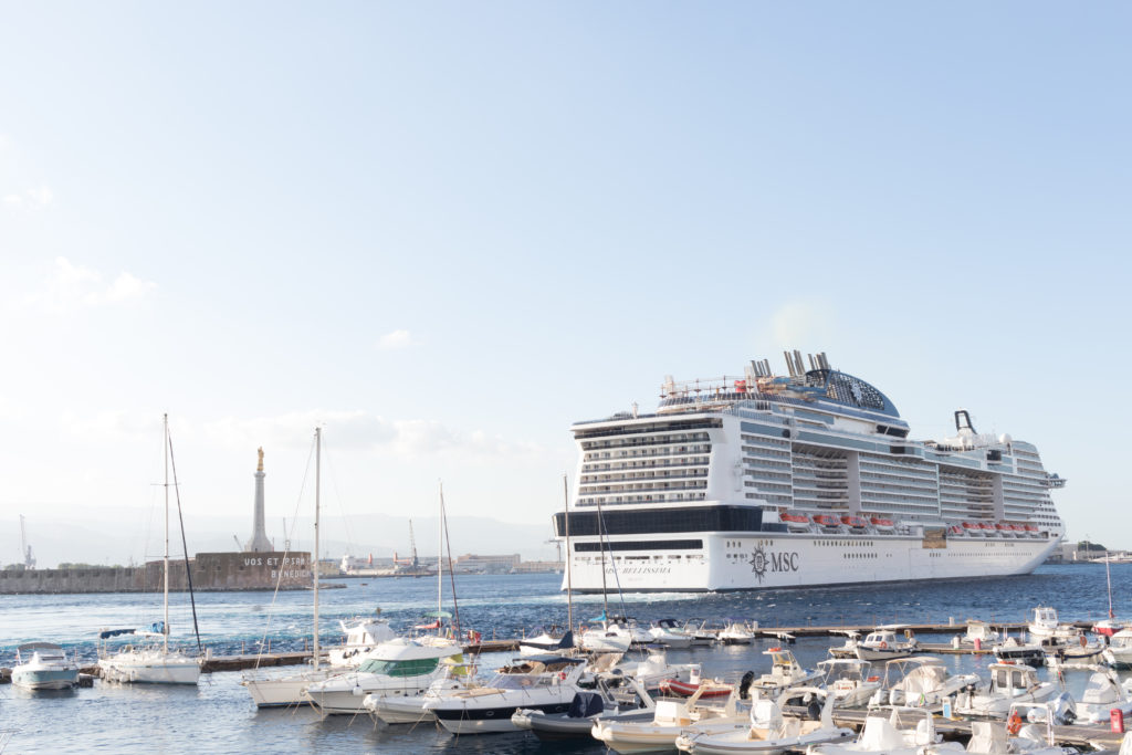 Messina, Sicily, Italy - July, 18, 2019: Port of Messina with cruise ships.