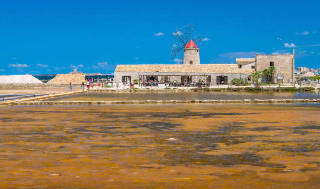 Museo del Sale (Salt Museum) at the Trapani salt flats. Sicily, southern Italy.