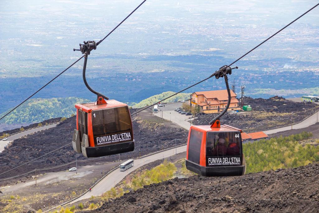 SICILY, ITALY - MAY 7, 2018: Cable car to Etna volcano from Rifugio Sapienza