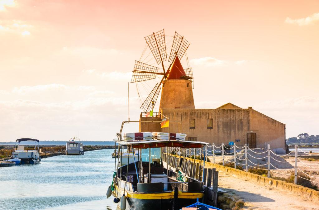Sicily, Trapani wind mill sea salt production, Italy.