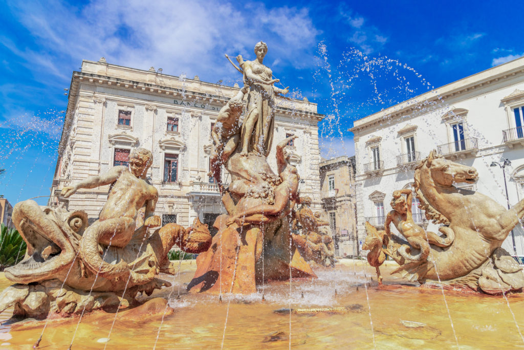 Siracusa, Sicily island, Italy: Diana Fountain in Archimedes Square, Ortigia, Syracuse, a historic city on the island of Sicily, Italy