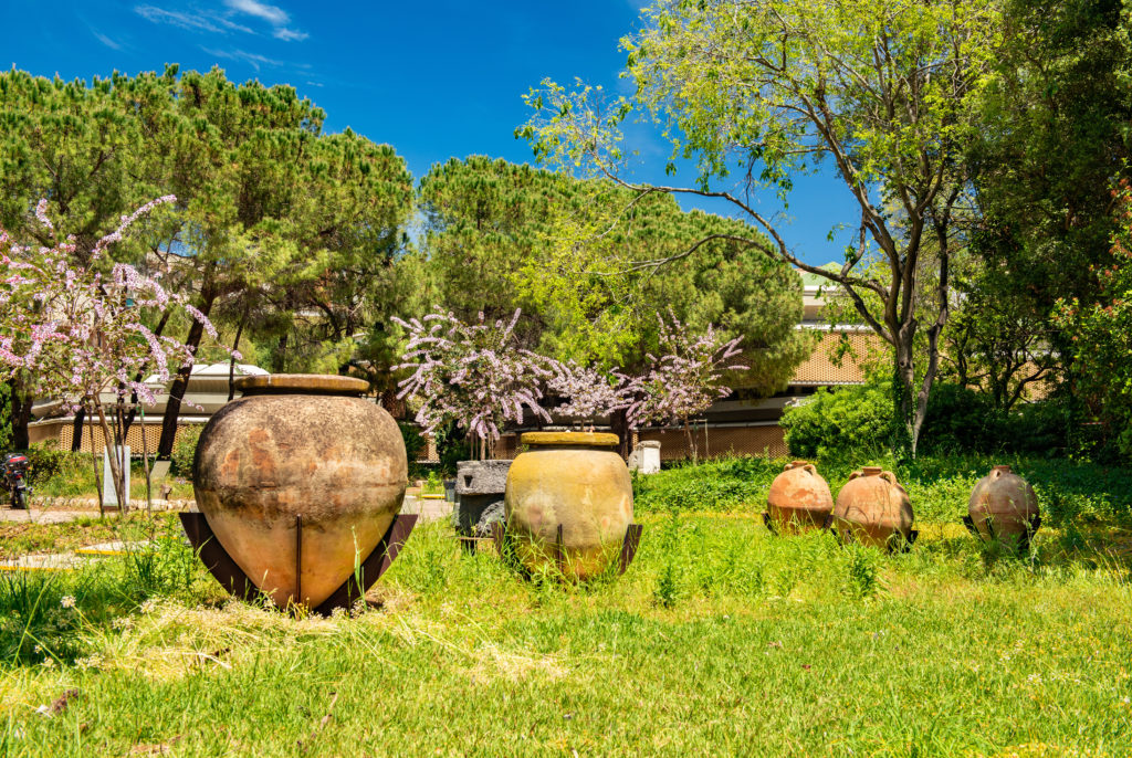 Syracuse - April 2019, Italy: Ancient amphoras in the Archaeological Museum of Paolo Orsi in Syracuse