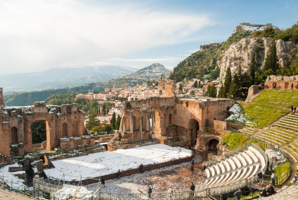 The greek theatre of Taormina after a snowfall on the 31 december 2014
