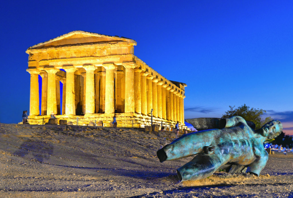 The Temple of Concordia is a Greek temple of the ancient city of Akragas, located in the Valley of the Temples of Agrigento and bronze statue of Icarus in Sicily Italy