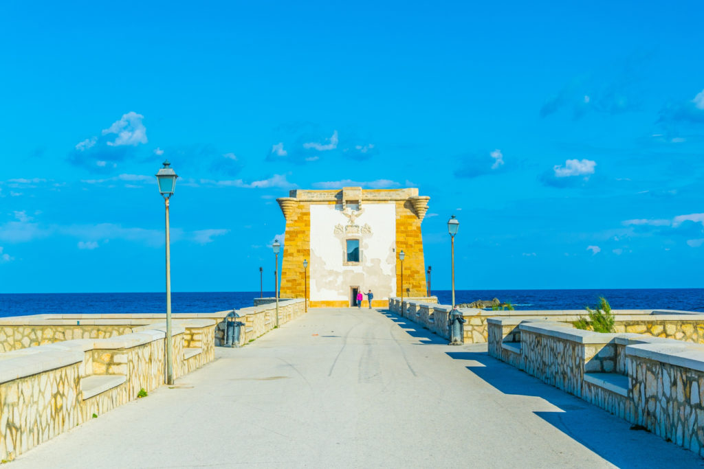 Torre di Ligny dominating seaside of Trapani, Sicily, Italy
