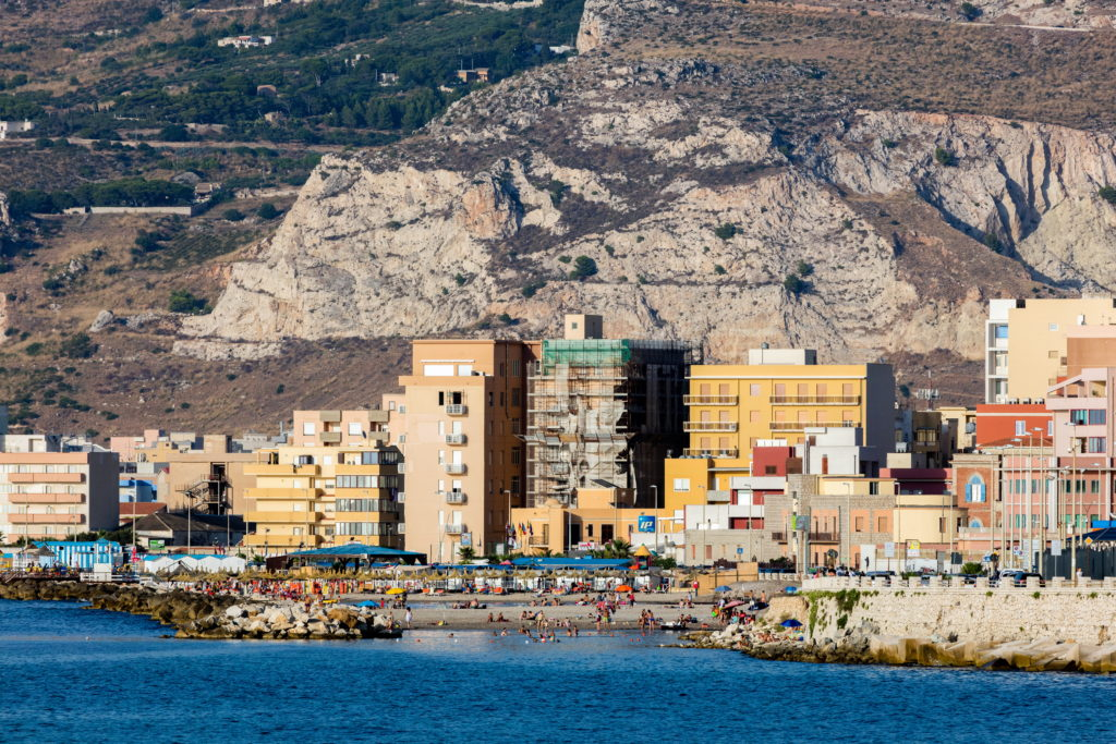 TRAPANI, ITALY - AUGUST 10 2016: Lido Paradiso is the largest beach in Trapani, Sicily, located at a short distance from the city's center.