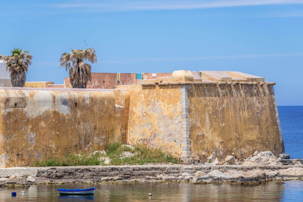 Trapani, Italy - May 11, 2019: Conca Bastion seen from historic Tramontana Walls in Trapani, capital of Trapani Province on Sicily Island