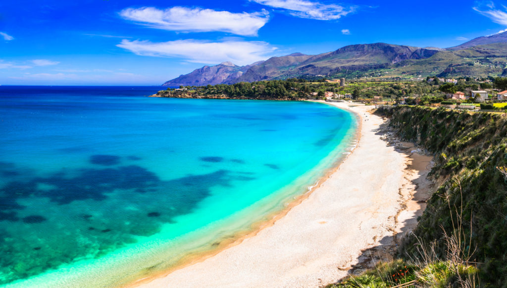 Vacation in Sicily island. Beautiful beach Scopello, Italy