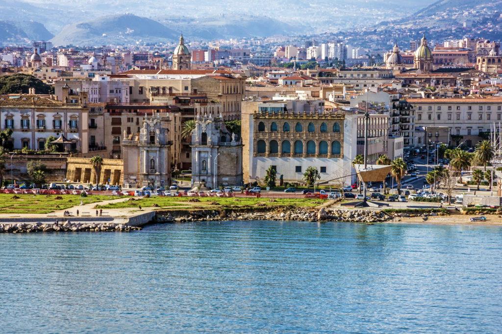 Palermo city view front, Sycylia, Włochy