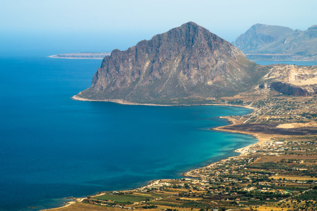 view of Cofano mount and the Tyrrhenian coastline from Erice, Sicily, Italy