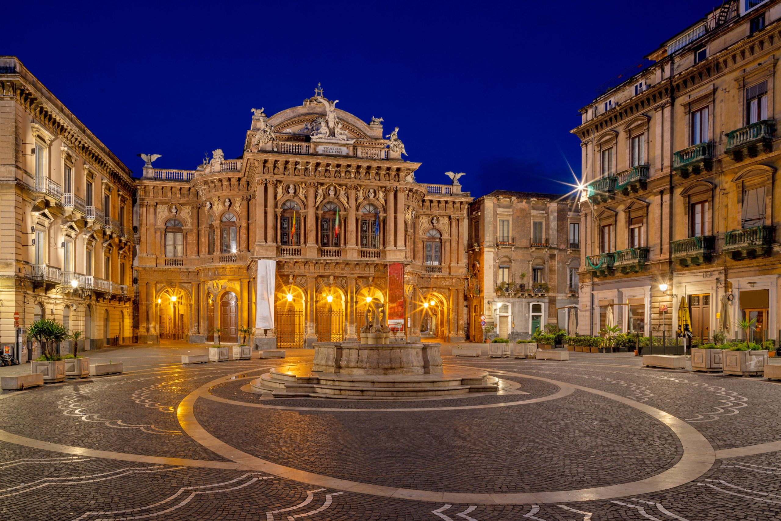 Catania - Theater - Teatro Massimo Bellini at dusk.