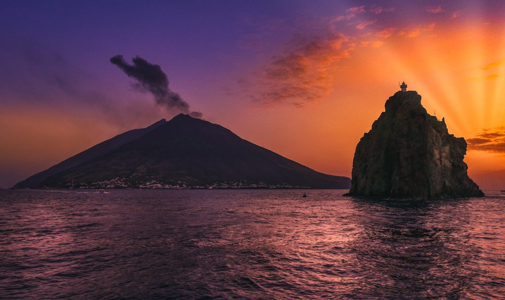 Sunset over stromboli and strombolicchio.