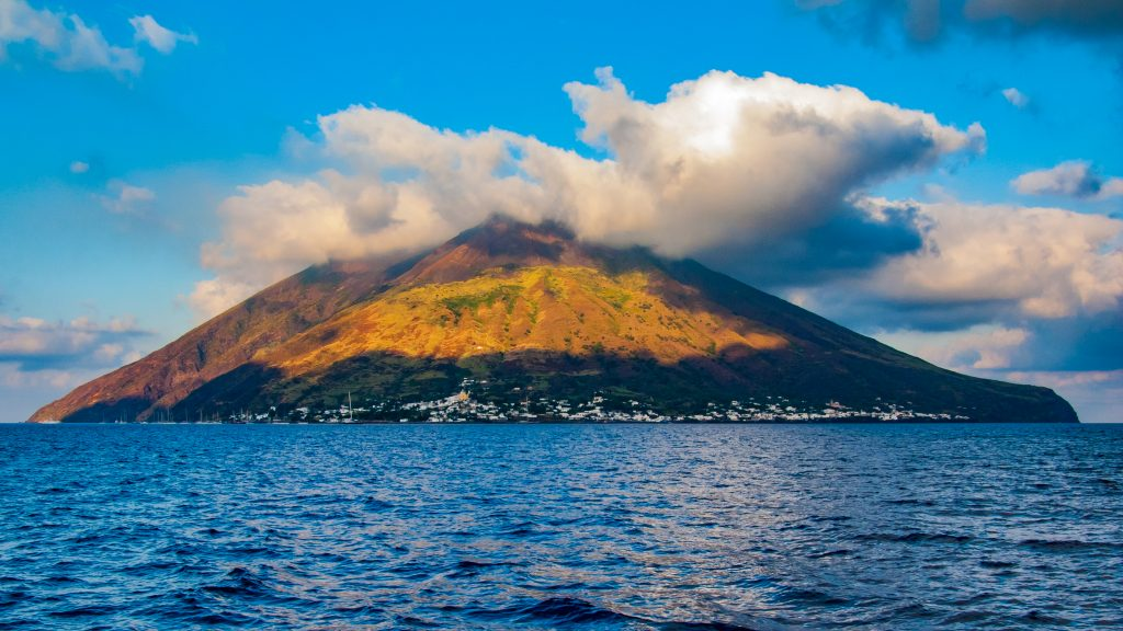 The island of Stromboli to the Aeolian Islands in Sicily