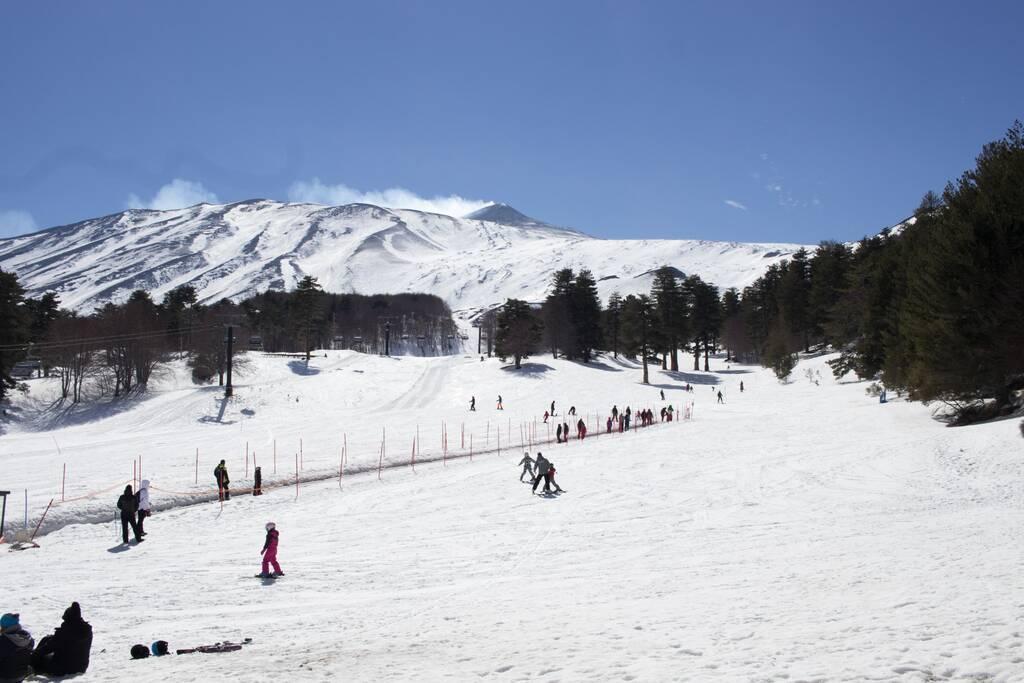 Mount Etna north with snow. Famous Sicilian ski area