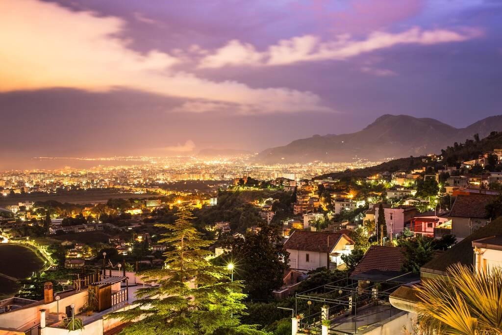 Night view of Palermo, sicily island.