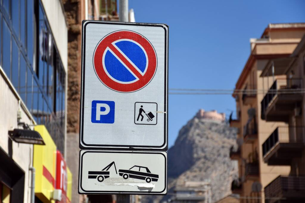 No parking road sign in palermo italy and attention sign and Castello Utveggio
