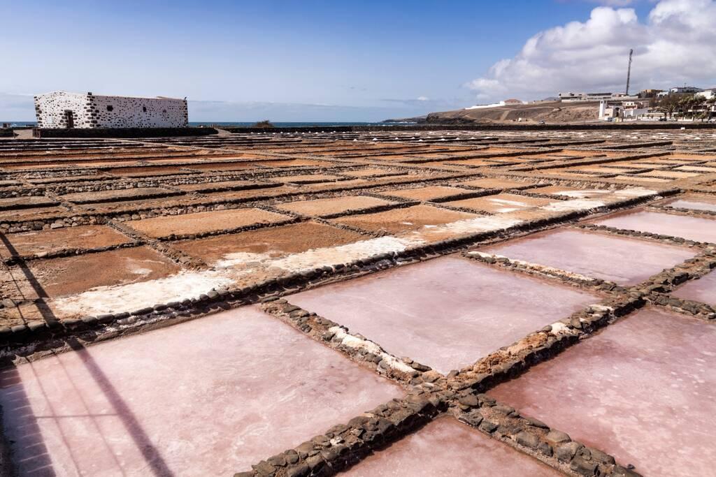 panoramic view of the salt deposits of Salinas del Carmen, Fuerteventura