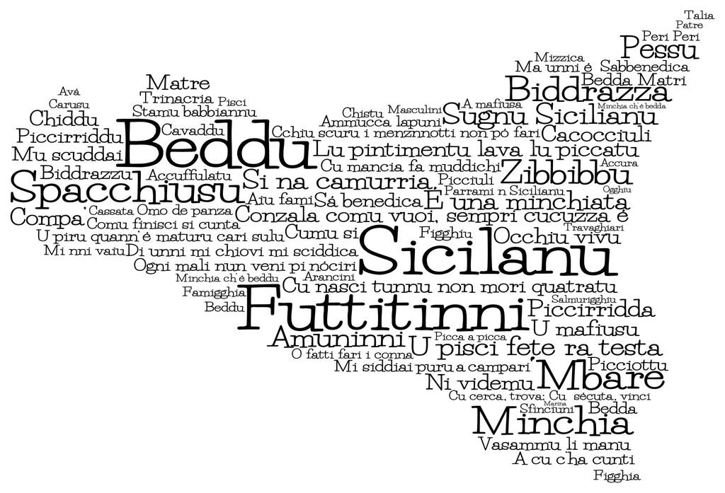 Sicily map made from Sicilian slang words in vector format. Beddu translates to beautiful, Futtitinni translates to No Worries. M'bare translates to Friend.