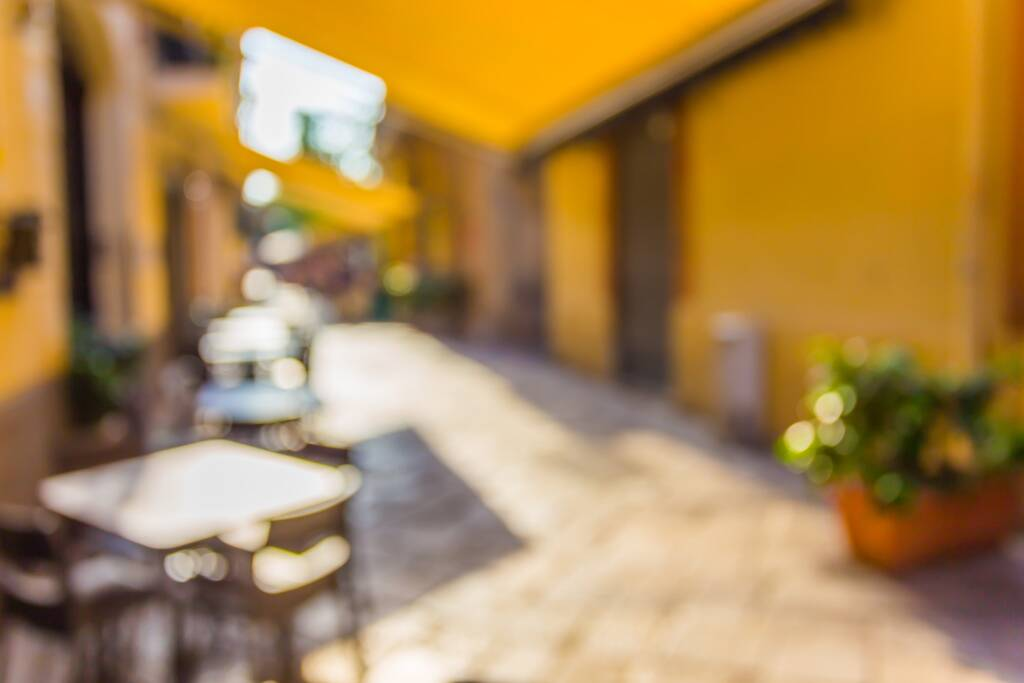 Street in Italy in Palermo in Sicily with the effect of blur and bokeh