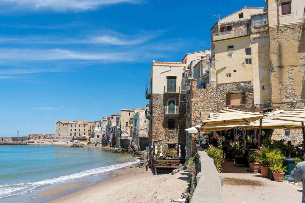 Cefalù, Italy - May 8, 2019: Coastline of Cefalù, a city and comune in the Italian Metropolitan City of Palermo, located on the Tyrrhenian coast of Sicily